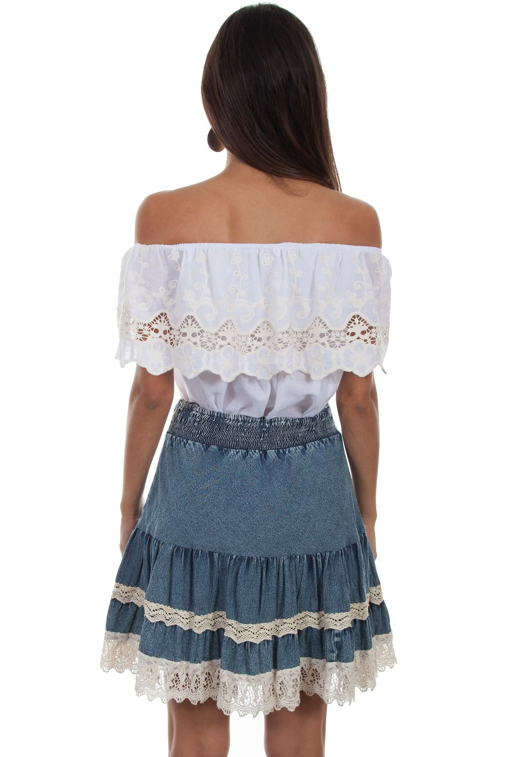 Scully Fashion Wear - ACID WASH TIERED SKIRT W/LACE TRIM - HC475 - DENIM - 2 from Ann N Eve Collection