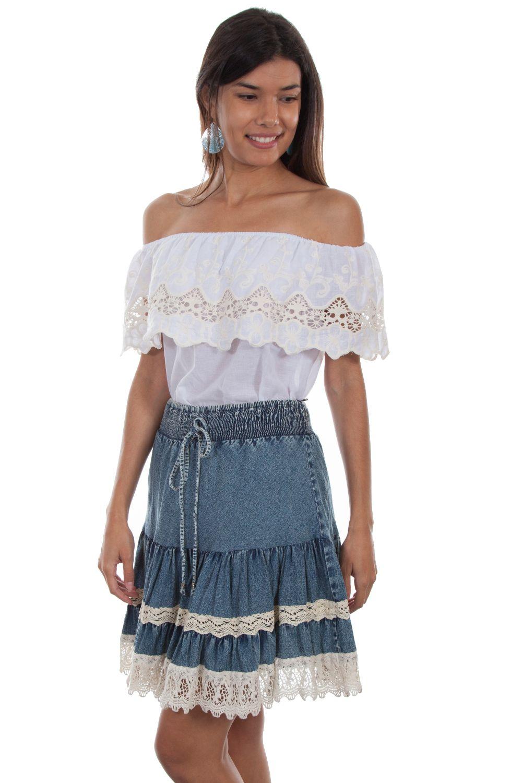 Acid Wash Tiered Skirt W/Lace Trim - Hc475 - Denim. (ships in 1-2 days). #F0_HC475_DEN