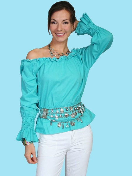 100% Cotton Lawn Romantic Peasant To - Sh009 - Turquoise. (ships in 1-2 days). #F0_SH009_TUR