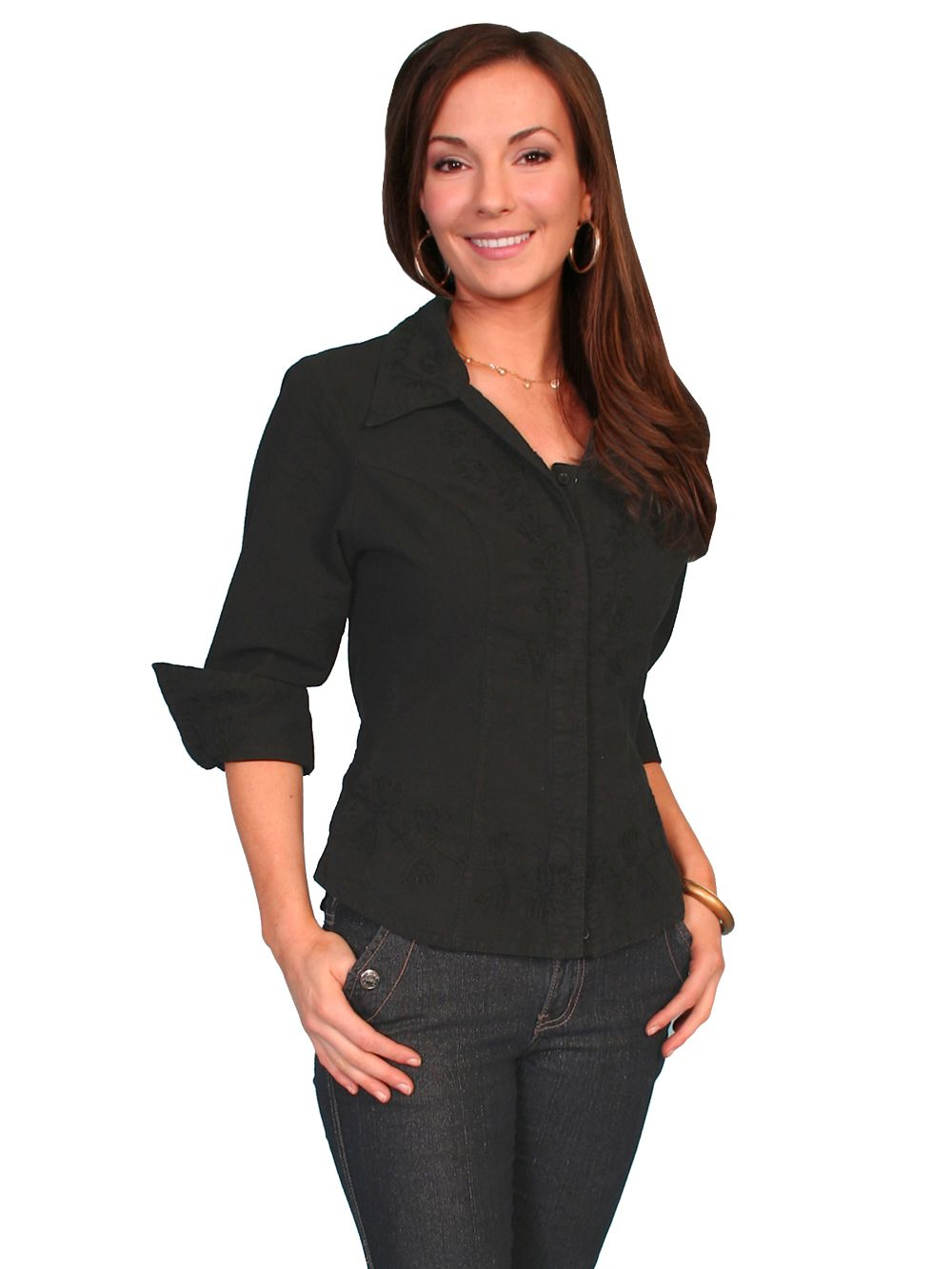 3/4 Sleeve Peruvian Cotton Blouse - Psl-063 - Black. (ships in 1-2 days). #F0_PSL-063_BLK