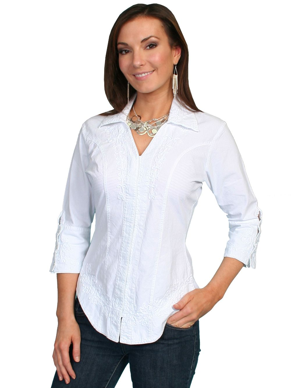 3/4 Sleeve Peruvian Cotton Blouse - Psl-063 - White. (ships in 1-2 days). #F0_PSL-063_WHT