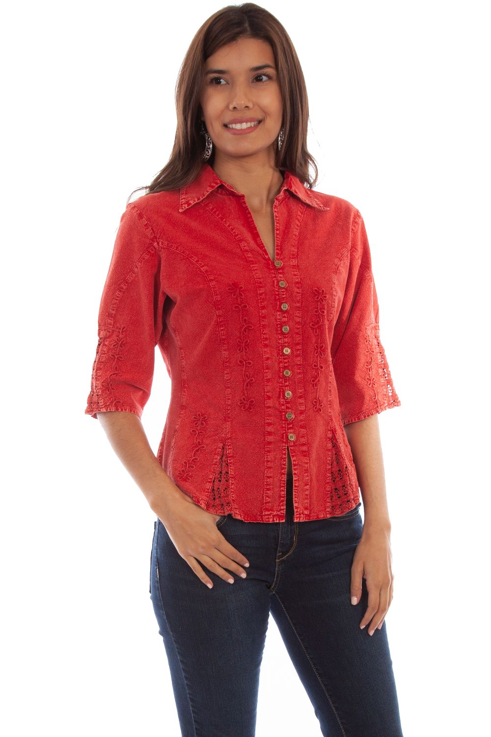 3/4 Sleeve Peruvian Cotton Blouse - Psl-064 - Brick. (ships in 1-2 days). #F0_PSL-064_BRI