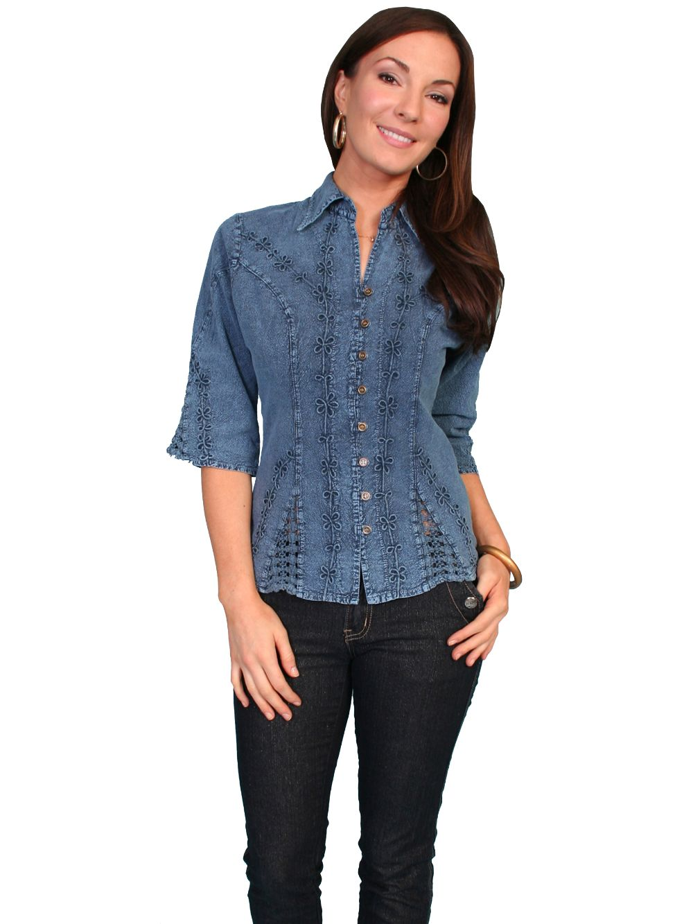 3/4 Sleeve Peruvian Cotton Blouse - Psl-064 - Dark Blue. (ships in 1-2 days). #F0_PSL-064_DBL