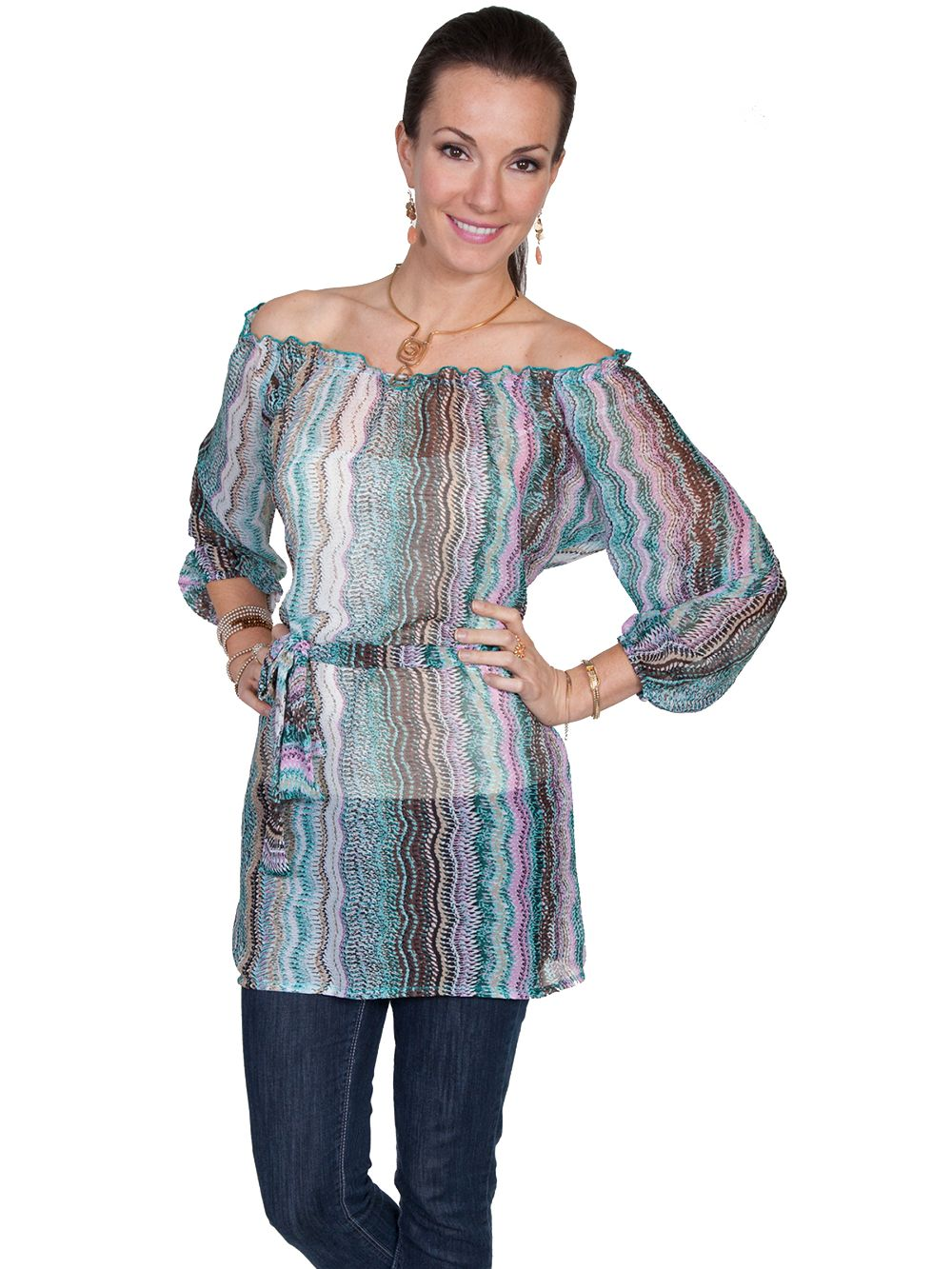 3/4 Sleeve Tunic W/Sash - E78 - Aqua. (ships in 1-2 days). #F0_E78_AQU