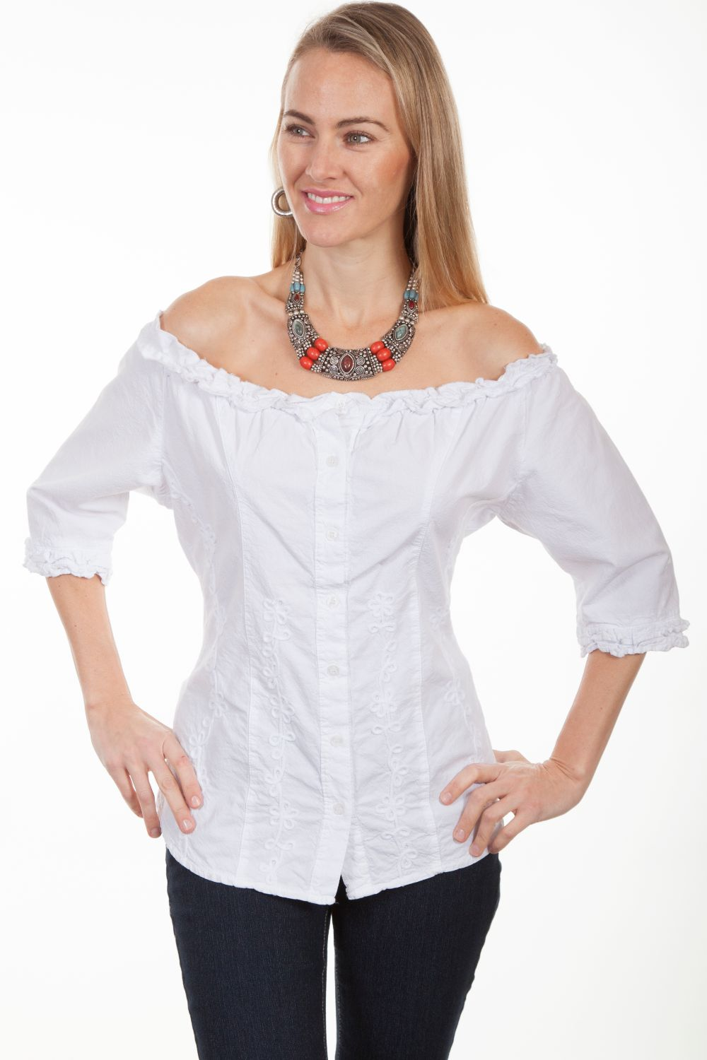 3/4 Slv Scoop Neck Button Front Blou - Psl-182 - White. (ships in 1-2 days). #F0_PSL-182_WHT