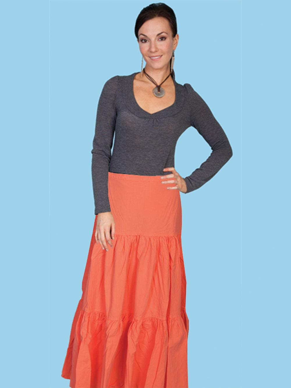3 Tier Skirt - Psl-077 - Orange. (ships in 1-2 days). #F0_PSL-077_ORA