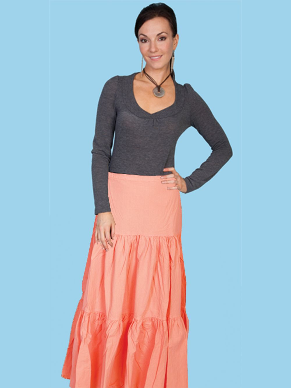 3 Tier Skirt - Psl-077 - Peach. (ships in 1-2 days). #F0_PSL-077_PCH