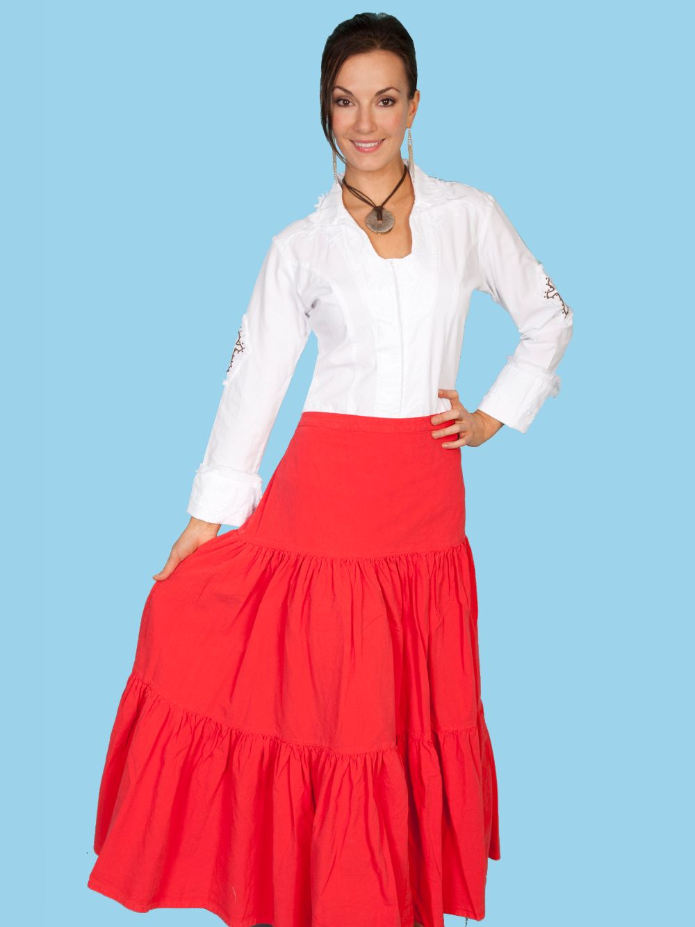 3 Tier Skirt - Psl-077 - Vermilion. (ships in 1-2 days). #F0_PSL-077_VRM