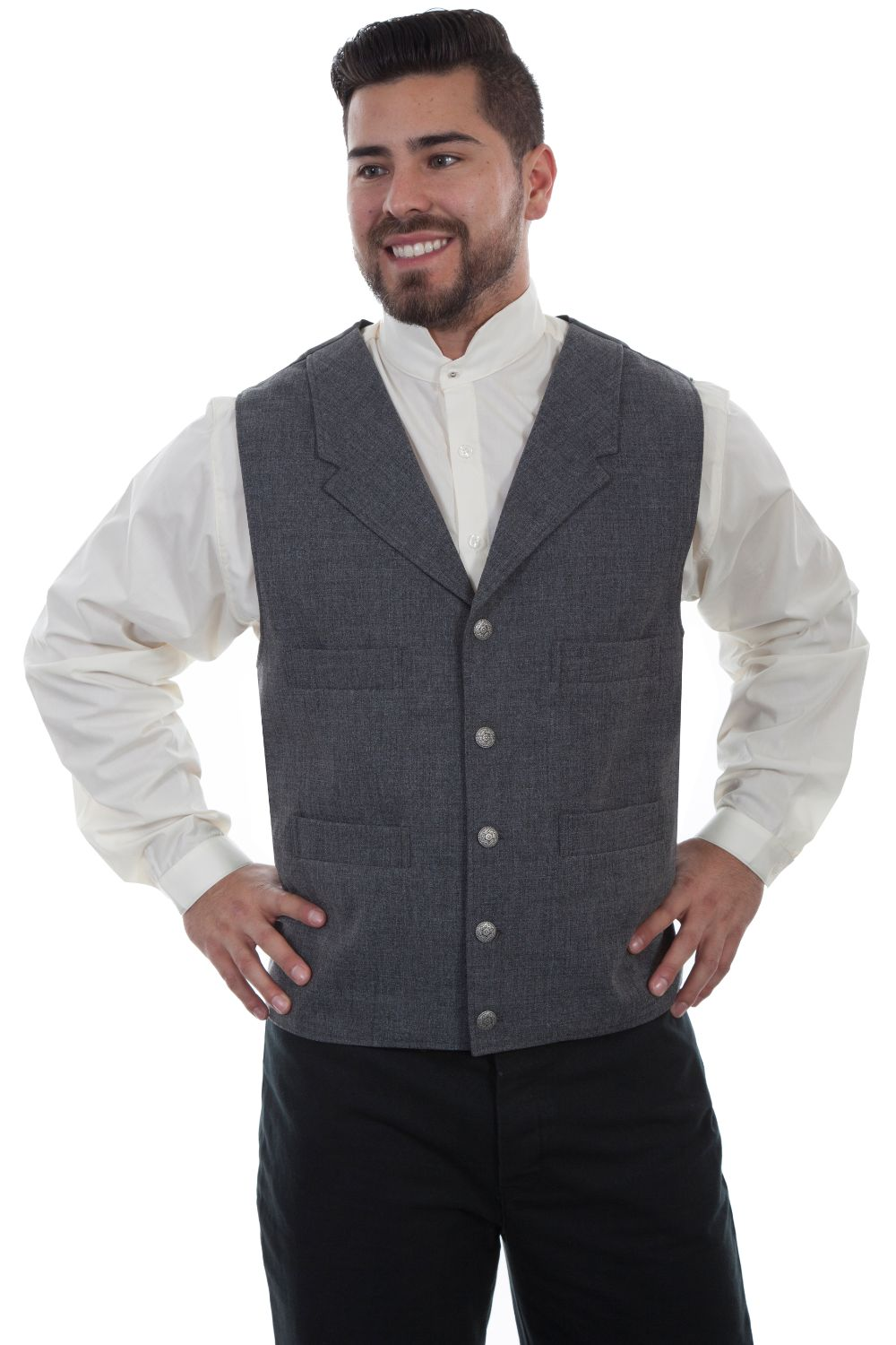 4 Pocket Polyester Vest - 541454 - Heather Grey. (ships in 1-2 days). #F0_541454_HGR