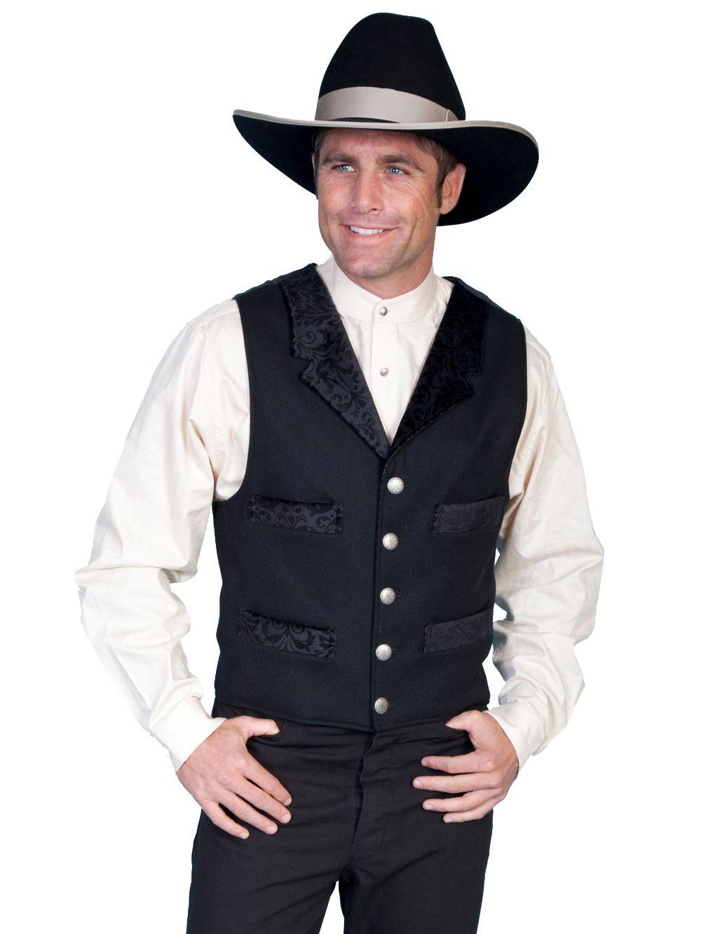 4 Pocket Wool Vest W/Cont. - 511024 - Black. (ships in 1-2 days). #F0_511024_BLK
