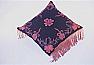 Embroidered Fringe Black Pillow