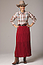 Red Long Broomstick Skirt