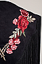 Western Black Shawl with Red Rose Applique (10 days to ship) #SH1003-17