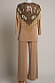 Beaded Champagne Color Three piece Outfit (10 days to ship) #Outfit 1009-17(Limited Edition)