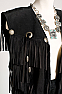 Elegant Black Suede Long Vest and Gaucho #Outfit1001-16