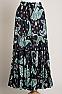 Boho Style Western Paisley Black/Teal Green Skirt #SK5001-17