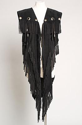 Elegant Black Long Suede Vest. (6 weeks to ship). #GS1001-16