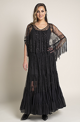 Elegant Long Beaded Formal Western Wear Beaded Skirt and Cape with Fringe (7 days to ship) Outfit BD 112718