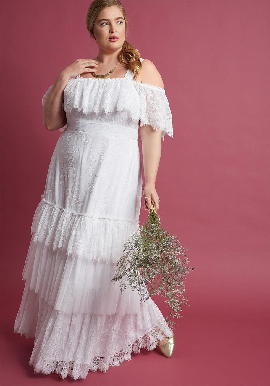 Western Wedding White Lace Dress Romantic Boho Inspired Maxi Dress