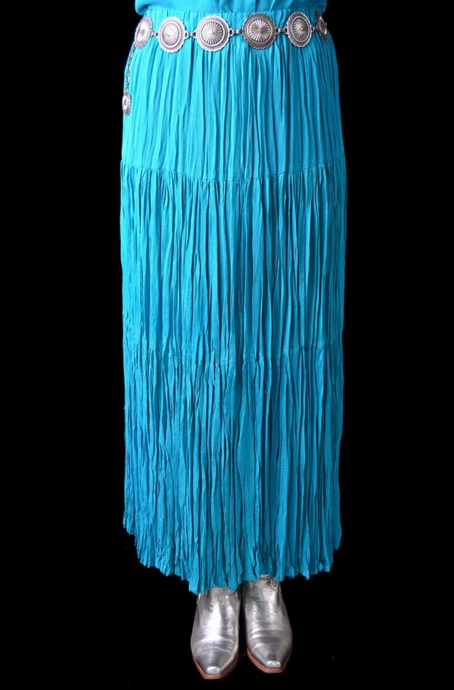 Western Style Broomstick Skirt In Turquoise Ann N Eve