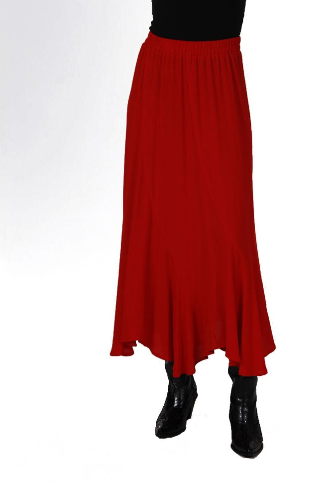 Red Western Rayon Skirt. #5054