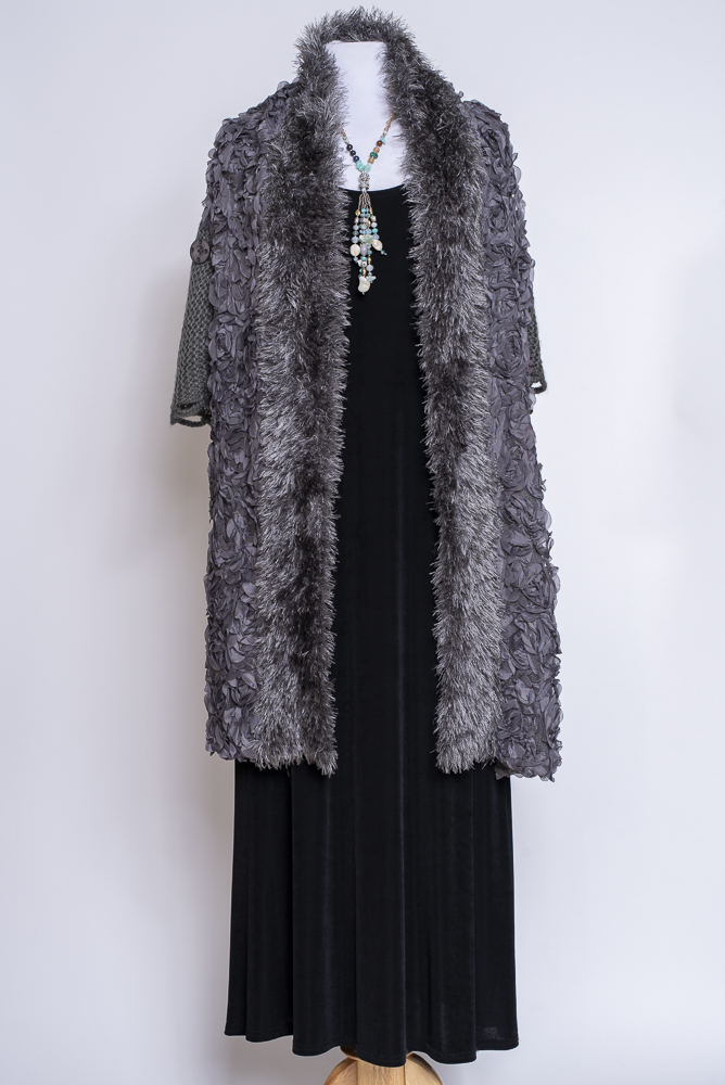 Exquisite Gray Knitted Cape Shawl #101620 Cape