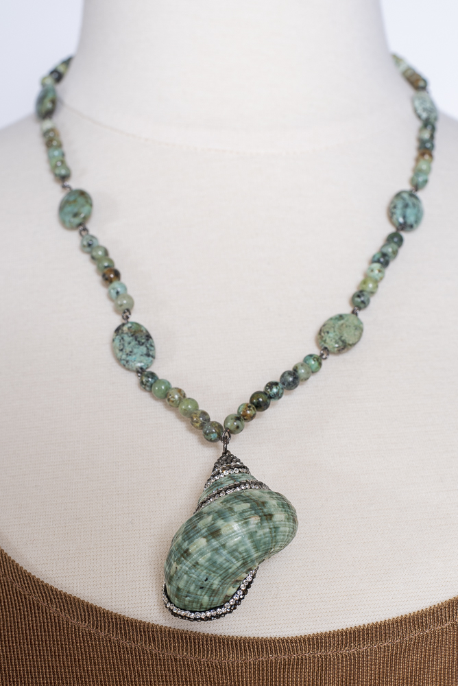 Hand Made Turquoise Neckless With Rhinestone #101920 NC