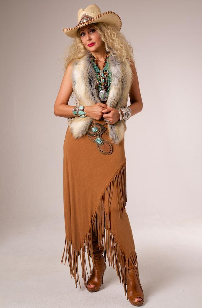 Sexy Long Fringe Tan Skirt. #AnnNEve-VRS91207 T