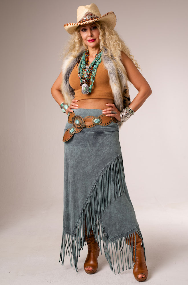 Sexy Turquoise Long Fringed Skirt. #VRS91027