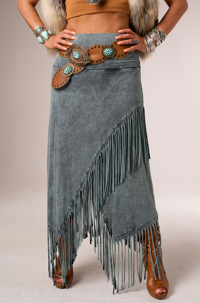 Sexy Turquoise Long Fringed Skirt