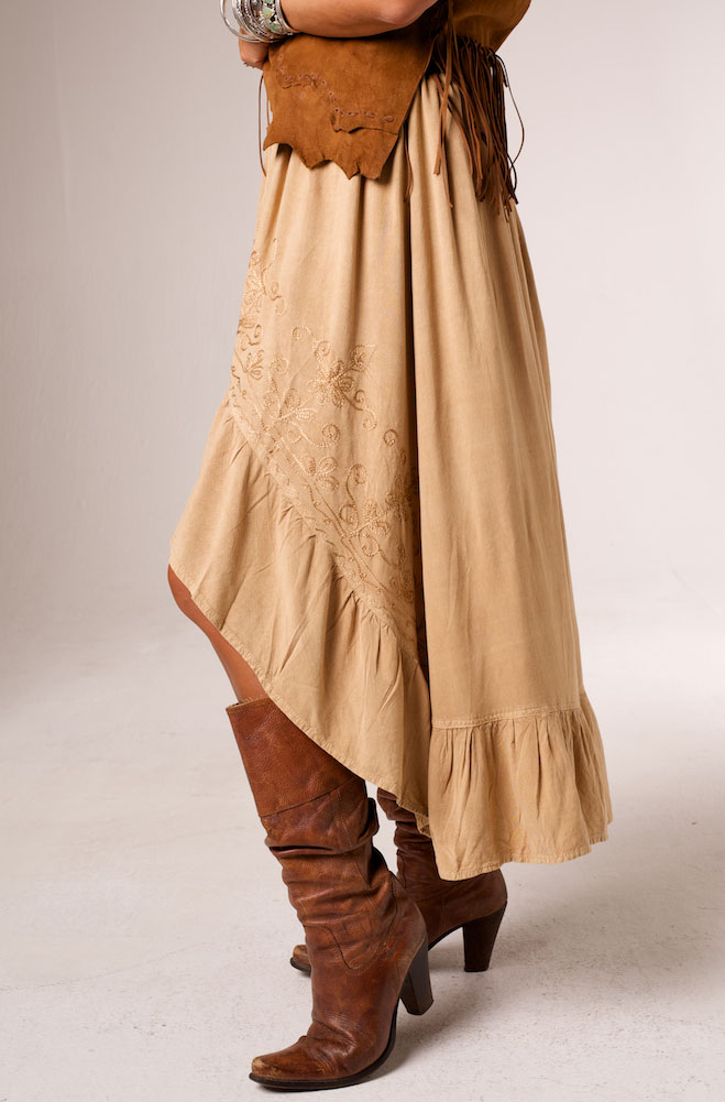 Embroidered Hi Low Ruffled Skirt