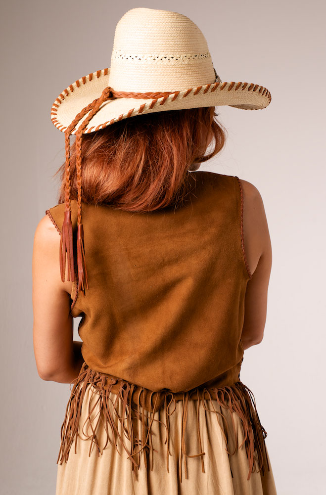Suede Vest With Fringe Hand made