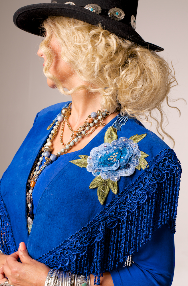 Elegant Suede Shawl with Embroidery (2 Weeks to Ship). #2116SS