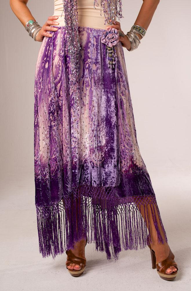 Tie Dye Burnt Out Velvet Long Skirt (2 weeks to Ship). #AESK2616