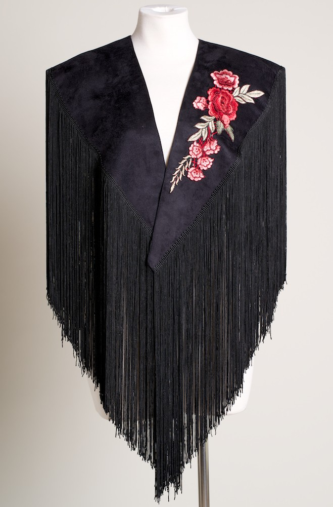 Western Black Shawl with Red Rose Applique. (10 days to ship). #SH1003-17