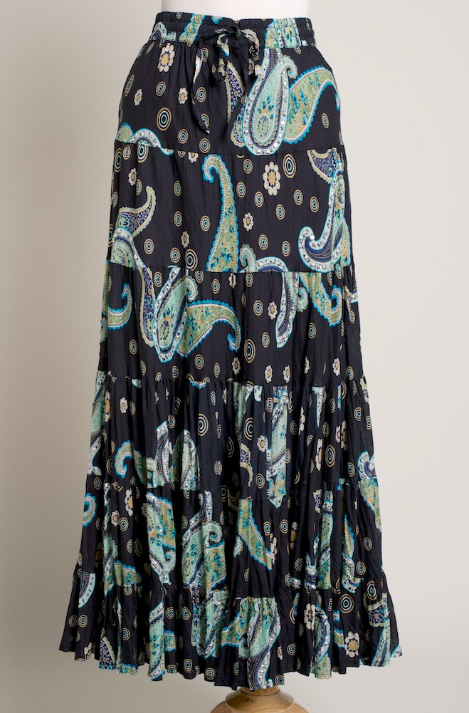 Boho Style Western Paisley Black/Teal Green Skirt. (7 days to ship). #SK5001-17