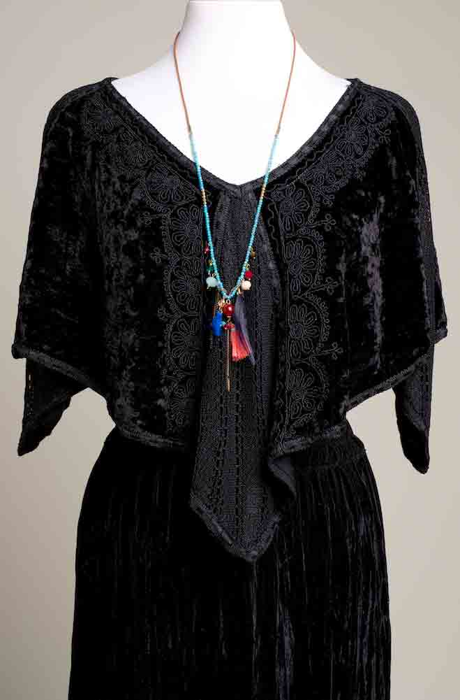 Black Velvet Handkerchief Style Cape. (10 days to ship) [Limited Edition]. # Cape 2317
