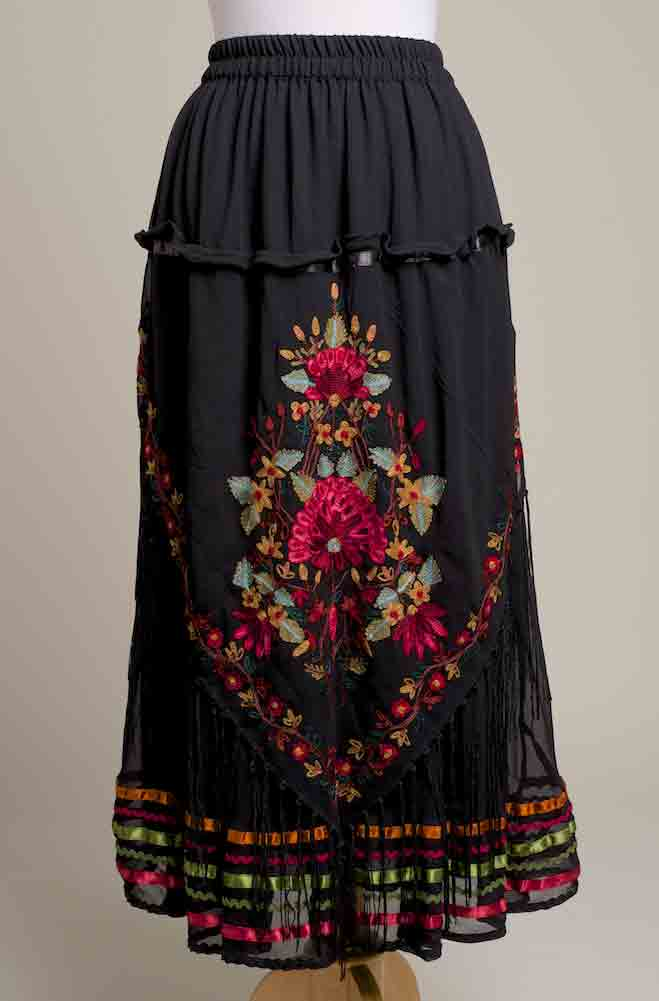 Romantic Long Embroidered Chiffon Skirt. (Limited Edition). #SK5005-17