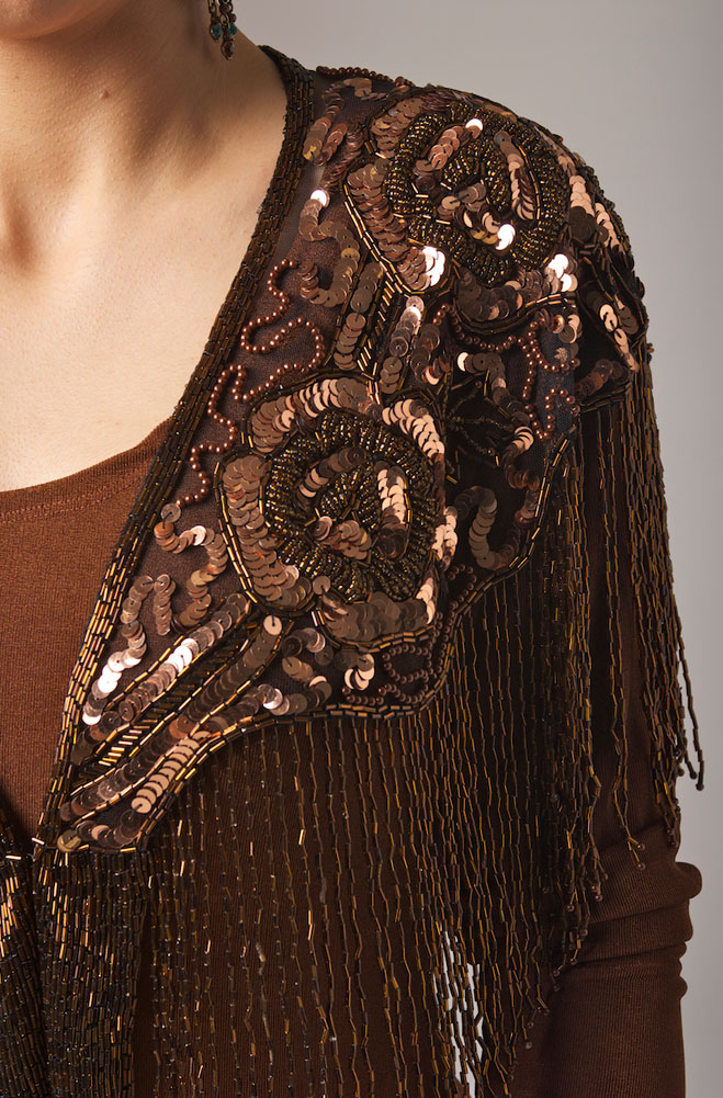 Beaded Copper Shawl With Fringe