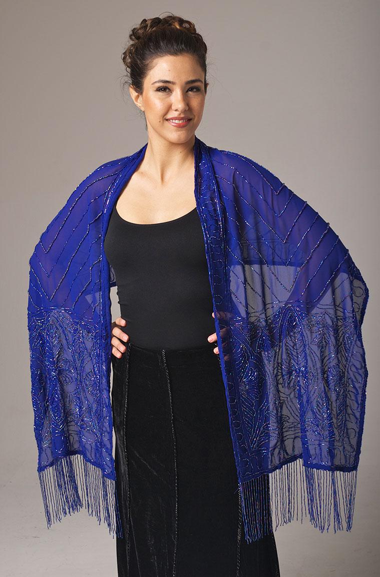 Beaded Royal Blue Shawl. #2083