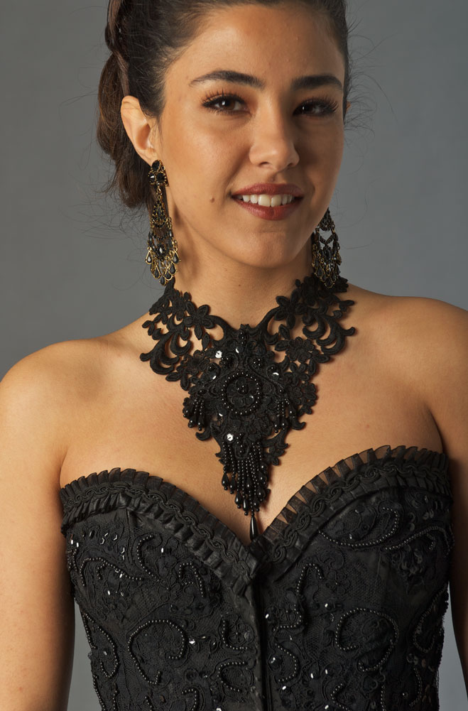 Black Beaded Bustier (3 days to ship)