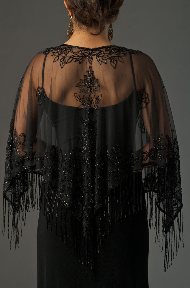 Black Beaded Pancho (3 days to ship)
