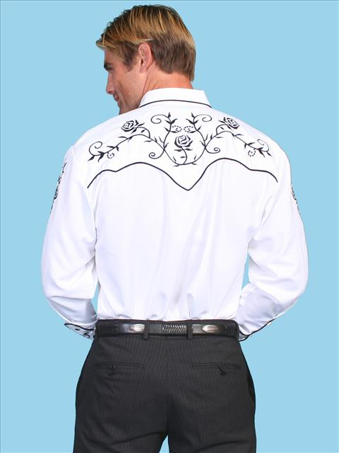 Black Floral Embroidered Shirt (7 days to ship)