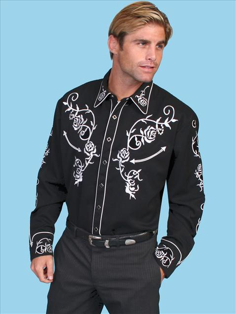 Black Floral Embroidered Shirt. (7 days to ship). #P-706