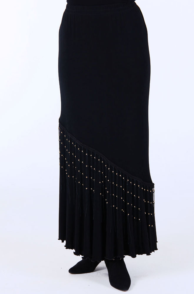 61fe16dd4f1 Black Flounce Long skirt with Beaded Fringe. (10 days to ship).  Limited  Edition .  5057