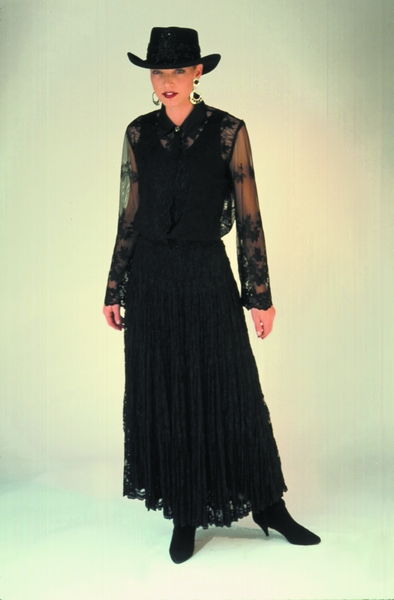 Black Lace Special Occasion Long Skirt. #5021