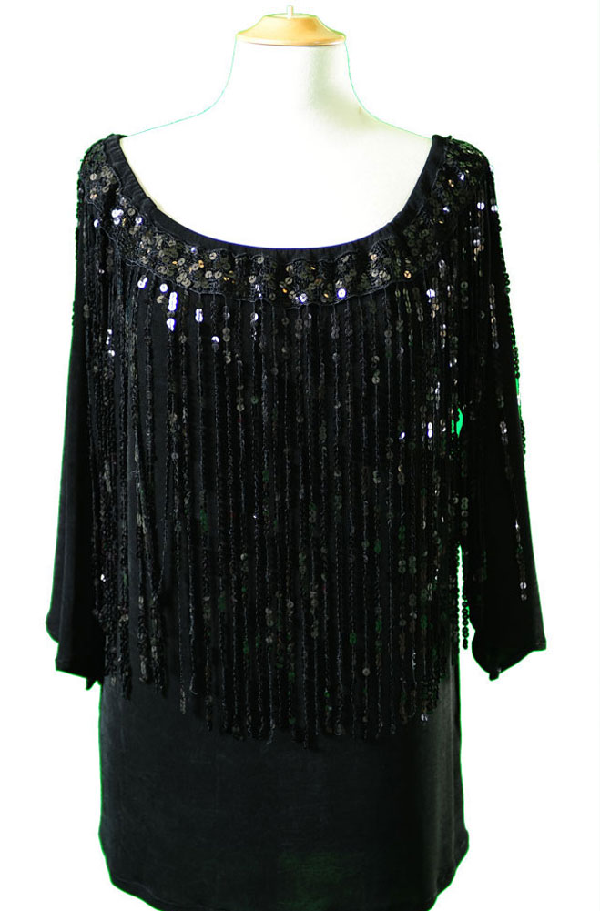 Black Peasant Top with Sequins (7 days to ship)