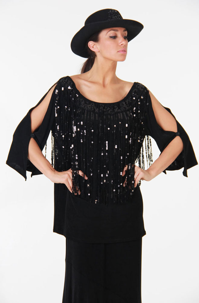Black Peasant Top with Sequins. (7 days to ship). #AE409