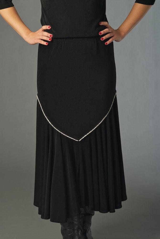 Black Sexy Long Skirt with Rhinestone. (10 days to ship). #5058-C339