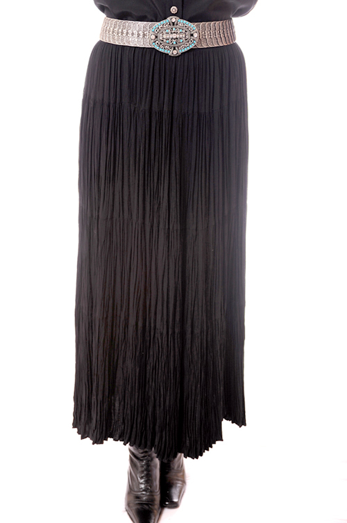Black Tiered Broomstick Rayon Skirt. #5015